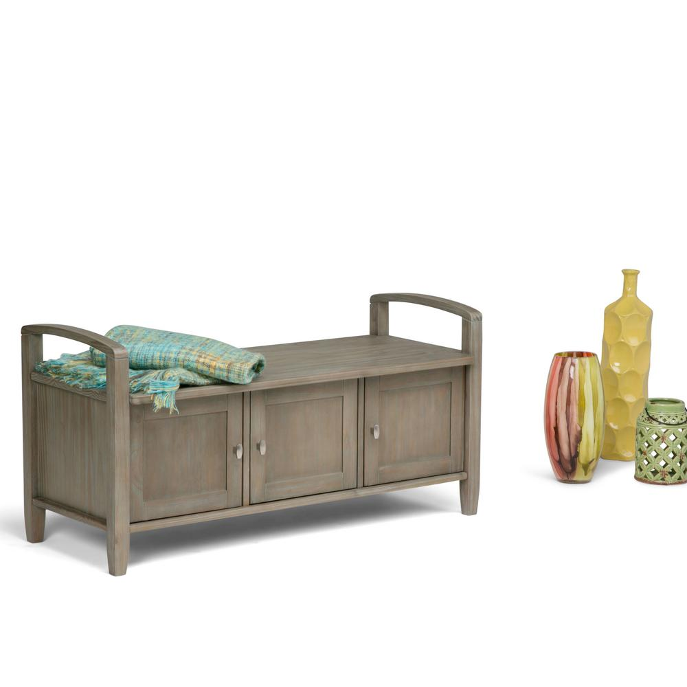 Good UPC 840469016163 Product Image For Warm Shaker Distressed Grey Entryway Wood  Storage Bench   Upcitemdb.