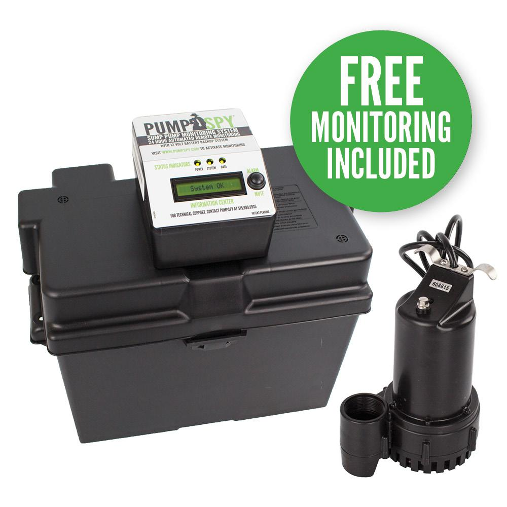1/4 HP Submersible 12 VDC Battery Back-Up Sump Pump and M...