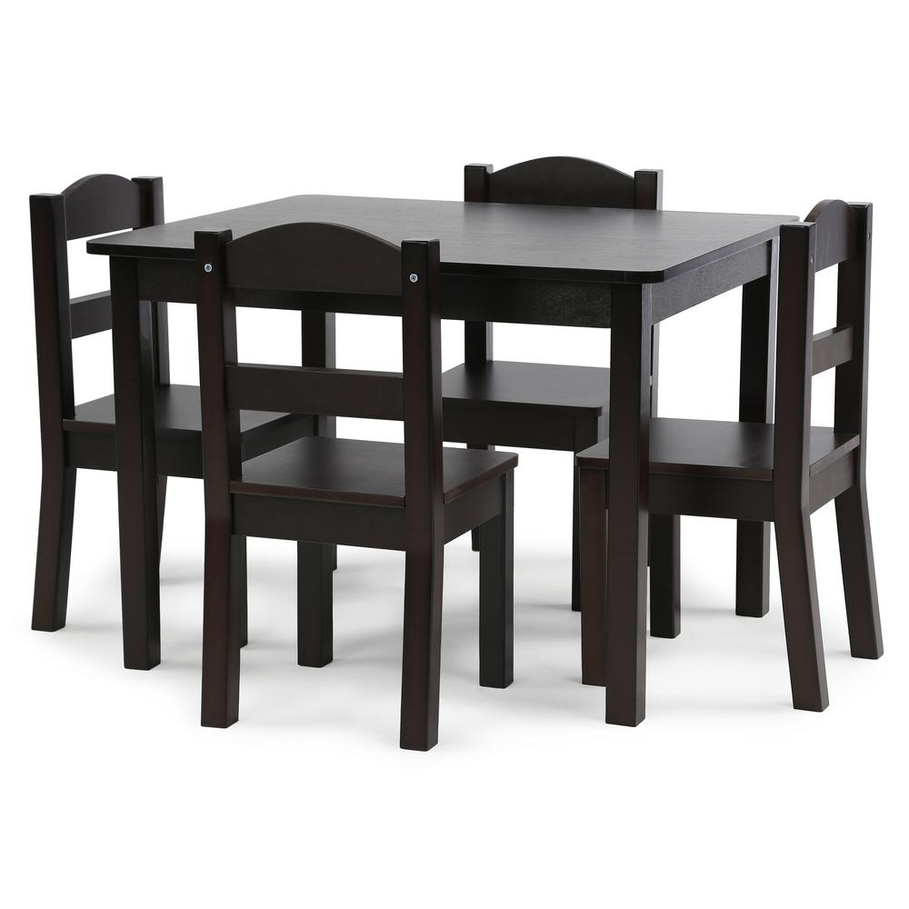 Superb Tot Tutors Espresso Collection 5 Piece Espresso Table And Andrewgaddart Wooden Chair Designs For Living Room Andrewgaddartcom