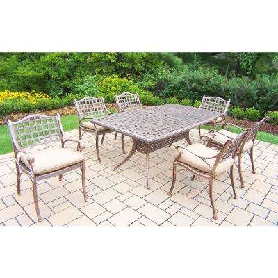Elite 7 Piece Aluminum Outdoor Dining Set With Beige Cushions