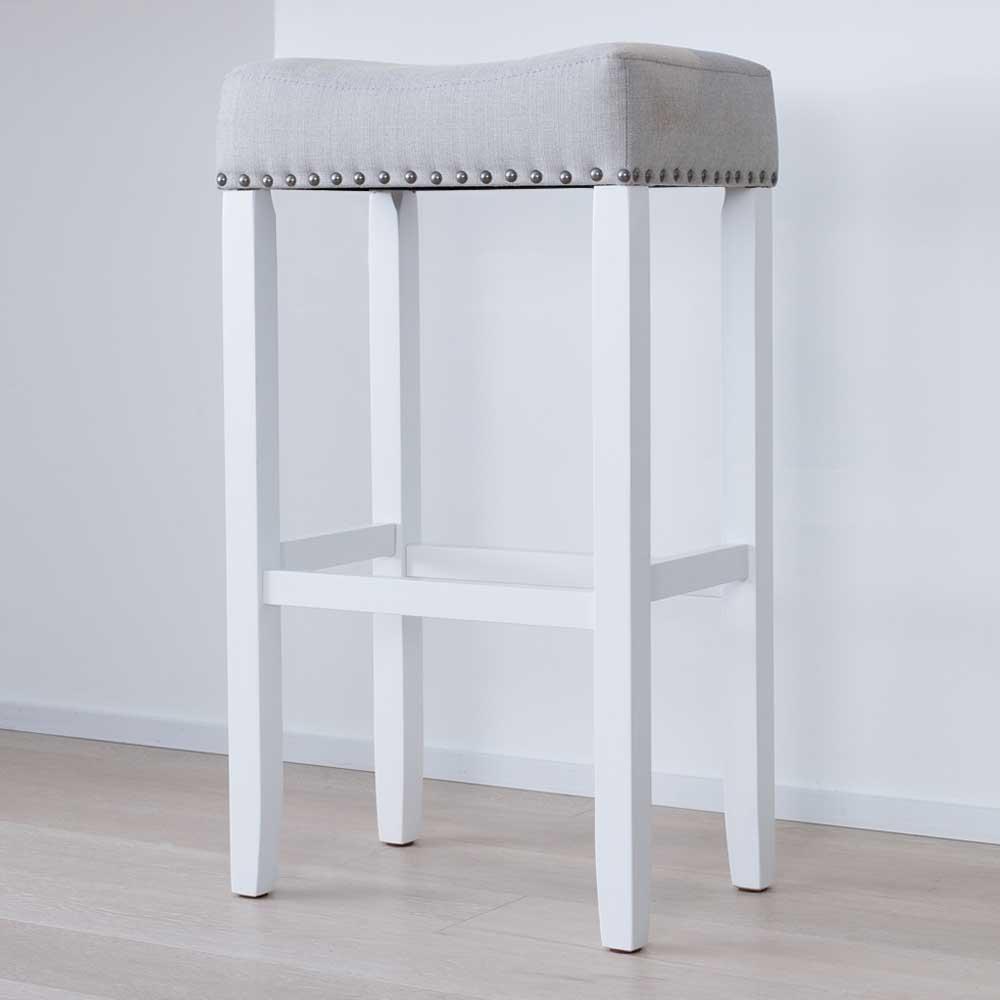 Hylie 29 in. Gray Fabric Cushion White Finish Nailhead Wood Pub-Height Counter Bar Stool