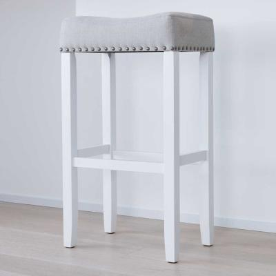 Hylie Nailhead 29 in. White and Gray Cushioned Bar Stool