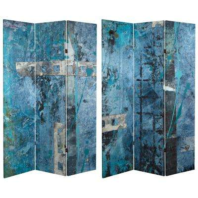 6 ft. Blue Dream Canvas 3-Panel Room Divider