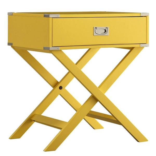 Wenderson 1-Drawer Yellow Nightstand