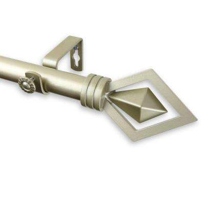 120 in. - 170 in. Telescoping 1 in. Curtain Rod Kit in Light Gold with Lenore Finial