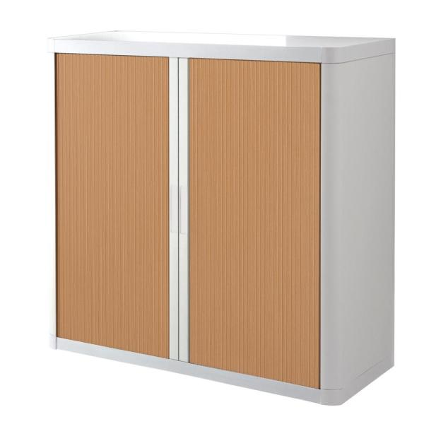 Paperflow easyOffice White and Beech 41 in. Tall Storage Cabinet with