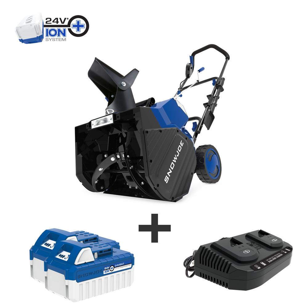 Snow Joe 18 in. 48-Volt Cordless Electric Snow Blower Kit with 2 x 4.0 Ah Batteries + Charger