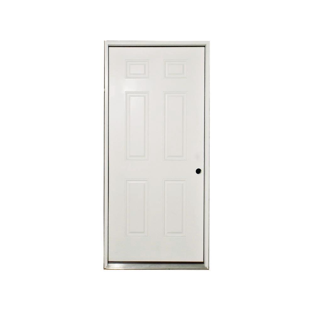 Steves & Sons 36 in. x 80 in. Basic White 6-Panel Primed Steel Prehung Front Door