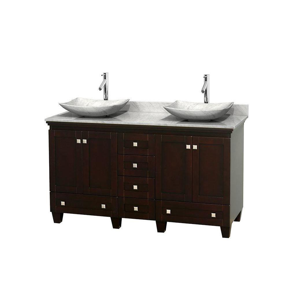 Wyndham Collection Acclaim 60 in. W Double Vanity in Espresso with Marble Vanity Top in Carrara White and White Carrara Sinks