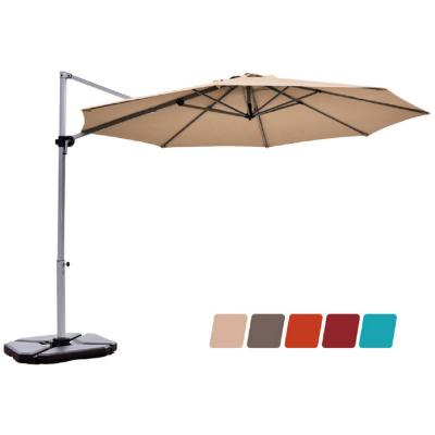11 ft. Aluminum Tilt Cantilever Offset Patio Umbrella in Beige with 360-Degrees Rotation