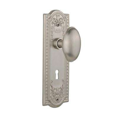Meadows Plate with Keyhole 2-3/8 in. Backset Satin Nickel Privacy Homestead Door Knob