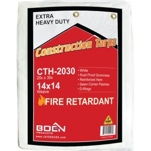 BOEN 20 ft. x 30 ft. Fire Retardant Heavy-Duty Construction Tarp by