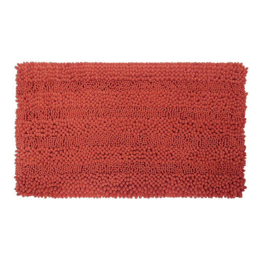 Astor Striped Chenille Coral 20 in. x 34 in. Plush Bath Mat