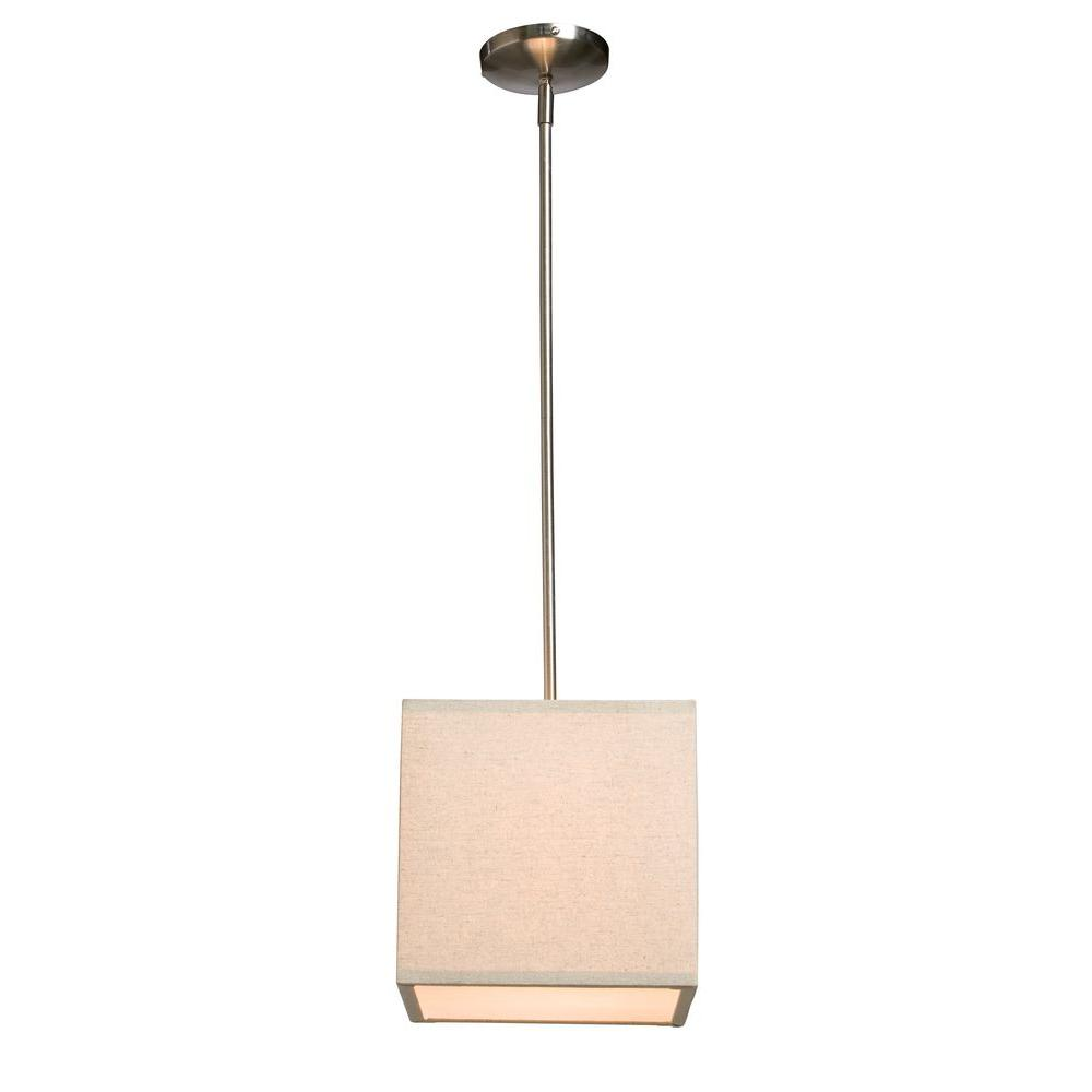 ARTCRAFT Mercer Street 1-Light Chrome Mini Pendant The winning Mercer Street series of beautiful drum shades now has matching square shaped pendants in Oat Meal color
