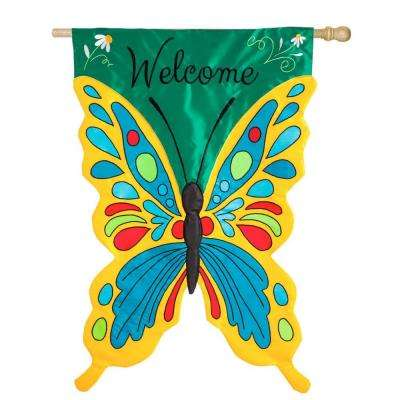 28 in. x 44 in. Welcome Butterfly Applique House Flag