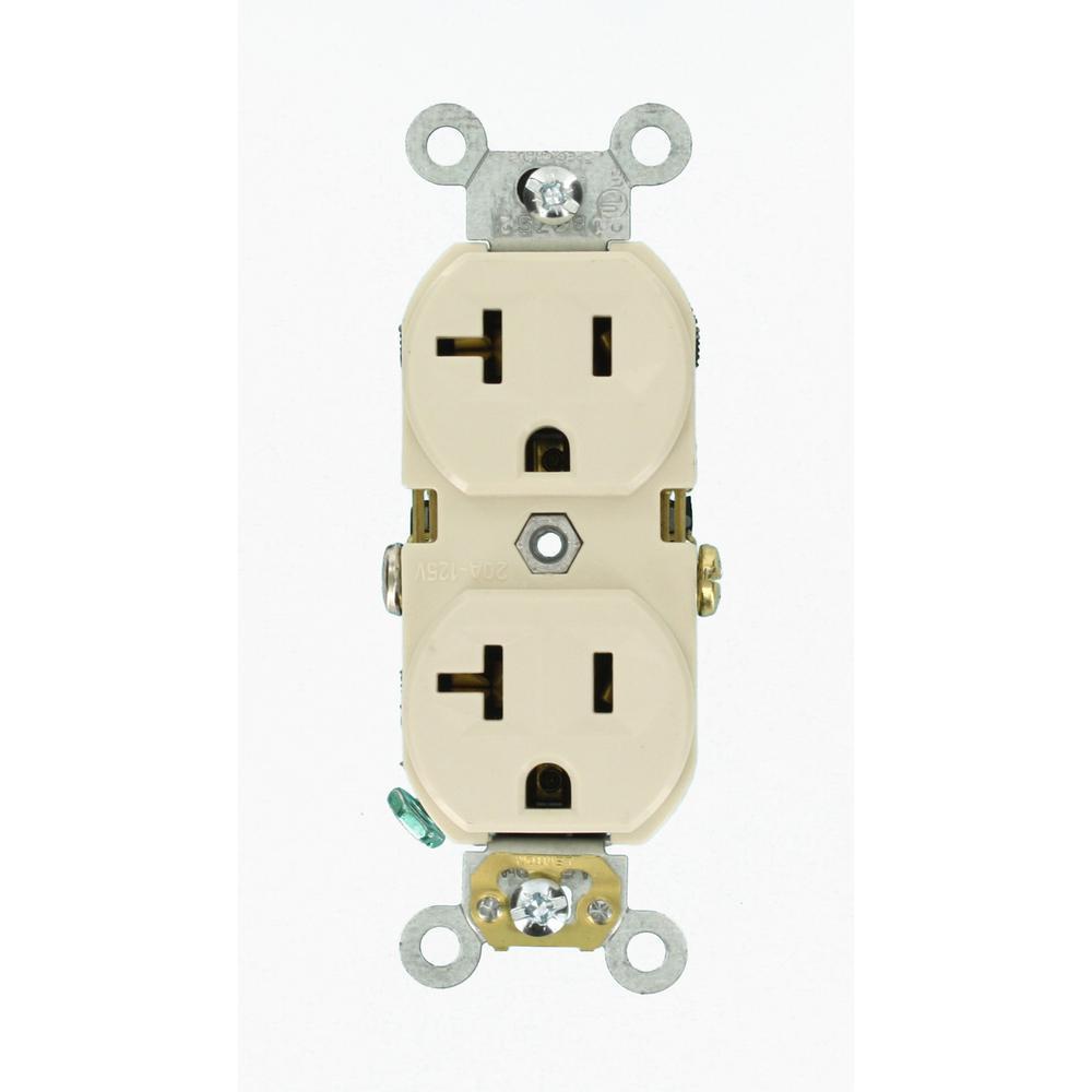 Leviton 20 Amp Commercial Grade Duplex Outlet  Light Almond-r56-cbr20-00t