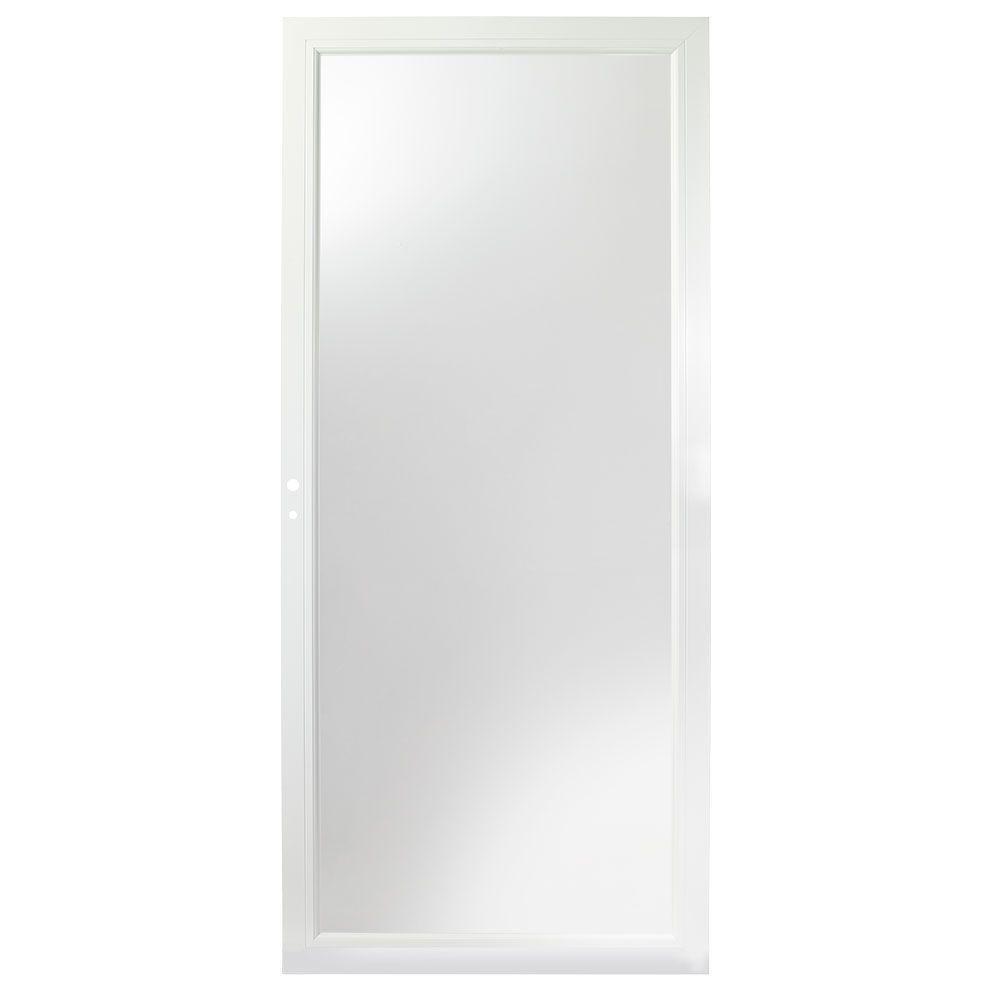 32 in. x 80 in. 3000 Series White Left-Hand Fullview Easy Install Aluminum Storm Door