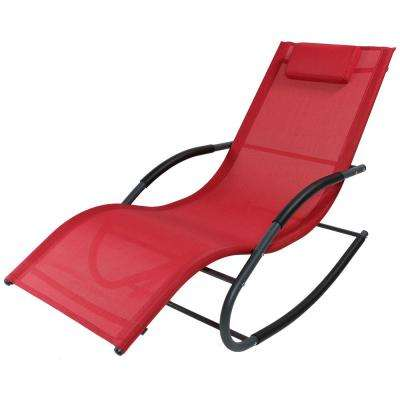 Red Rocking Wave Sling Outdoor Lounge Chair with Pillow