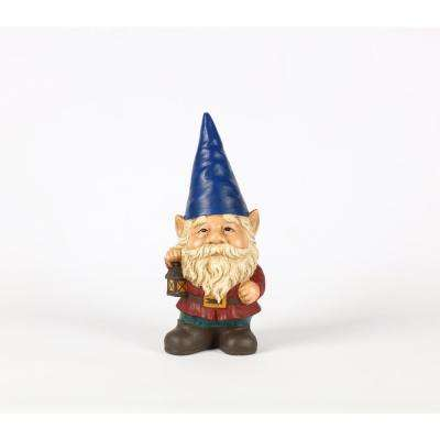 Gnome with Blue Hat Holds Lantern