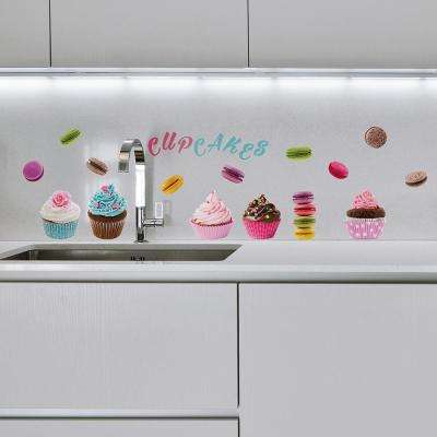 24.6 in. x 12 in. Blue Cupcakes and Macarons Wall Decal Set