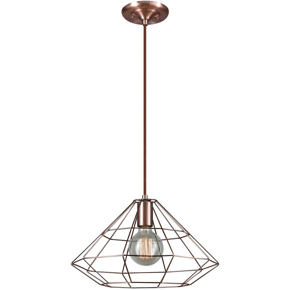globe electric mahek 1-light copper wire cage pendant-65218