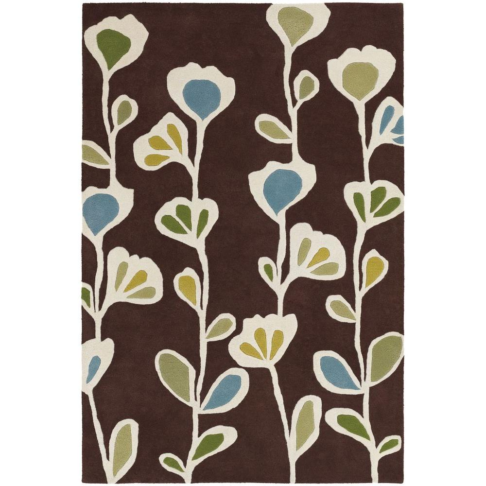 Chandra Inhabit Brown White Blue Green 5 Ft X 8 Ft Indoor Area Rug