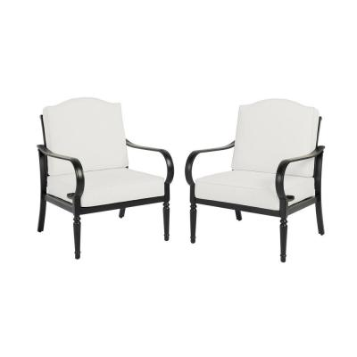 Laurel Oaks Brown Steel Outdoor Patio Stationary Dining Chair with CushionGuard Chalk White Cushions (2-Pack)