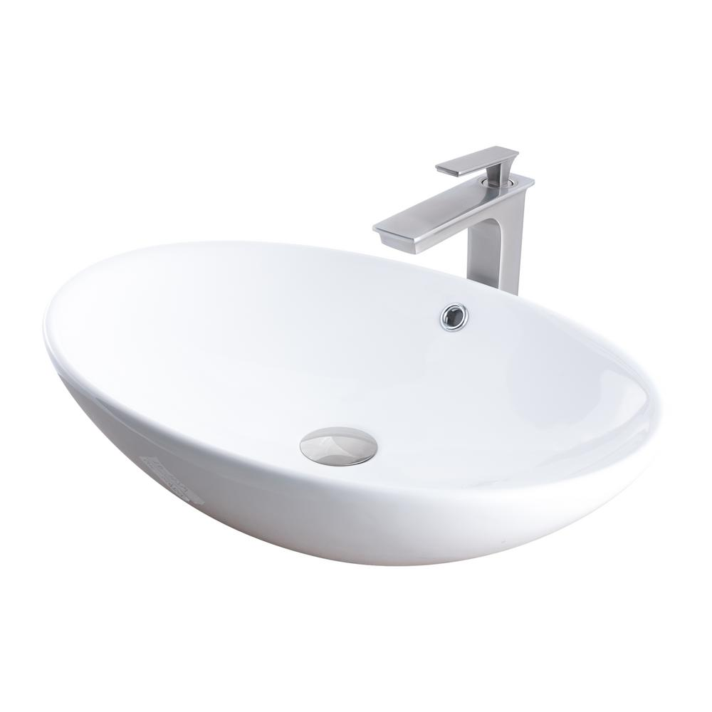 Vessel Sink In White With Sealer Drain And Faucet In Brushed Nickel