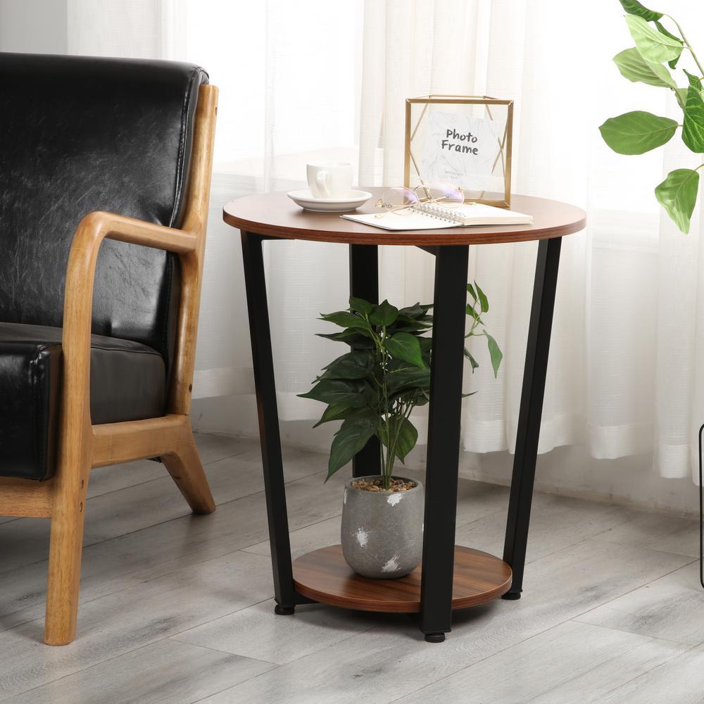 Modern Simple Side Table Design.Harper Bright Designs Brown Modern Simple End Side Table With Shelf