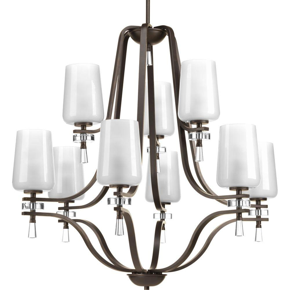 Indulge Collection 9-Light Antique Bronze Chandelier with Polished Glass Shade