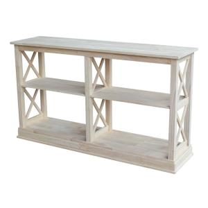 Hampton 60 in. Unfinished Standard Rectangle Wood Console Table with Shelves