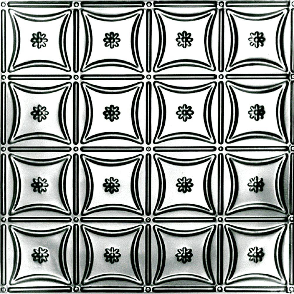 Shanko 2 Ft X 2 Ft Lay In Suspended Grid Tin Ceiling Tile In Clear
