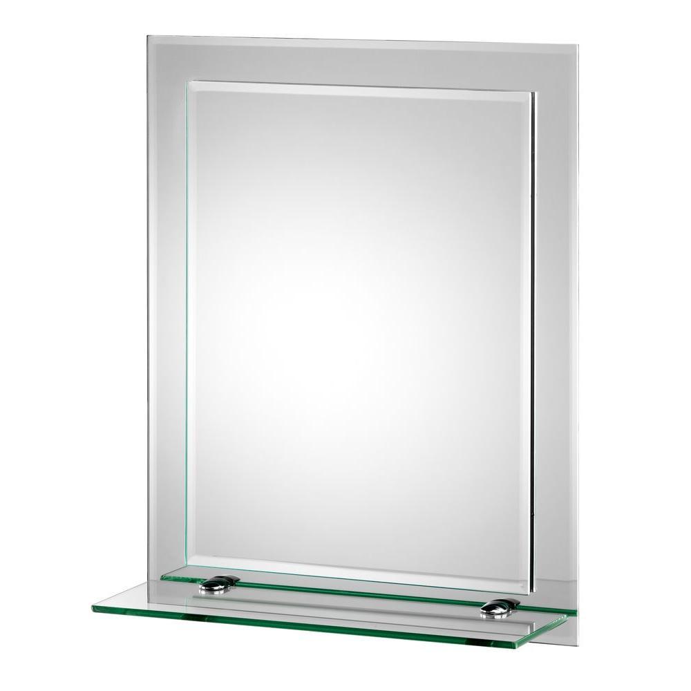 16 in. W x 20 in. H Frameless Rectangular Beveled Edge Bathroom Vanity Mirror