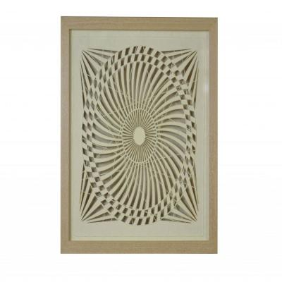 Mariana Modern Natural Brown Paper and Glass Shadow Wooden Decor
