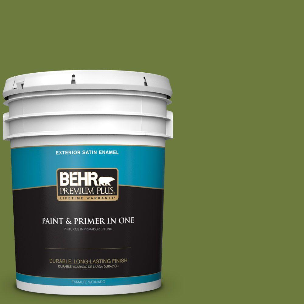 5 gal. #HDC-SM16-11 Hot Dog Relish Satin Enamel Exterior Paint