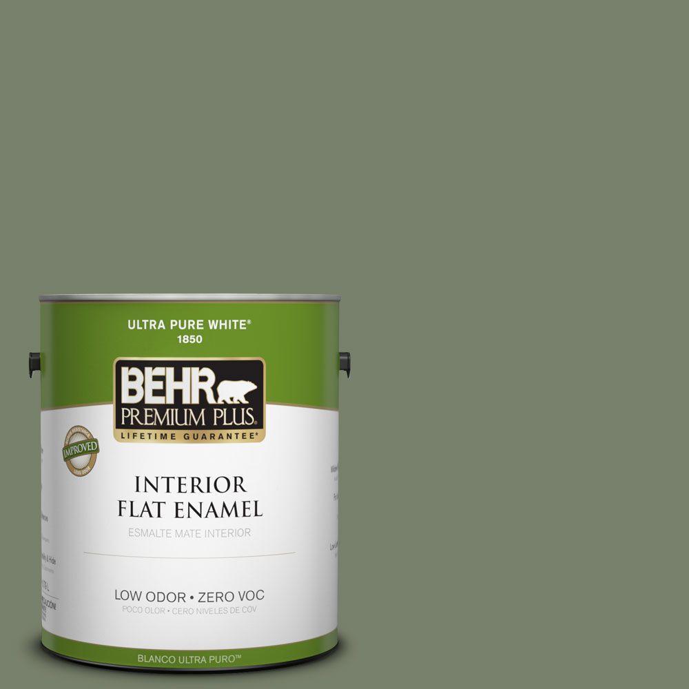 BEHR Premium Plus 1-gal. #430F-5 Bahia Grass Zero VOC Flat Enamel Interior Paint-DISCONTINUED