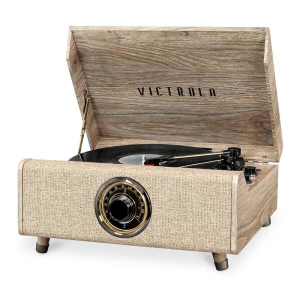 4-in-1 Highland Bluetooth Record Player with 3-Speed Turntable with FM Radio