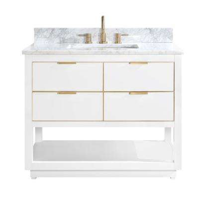 Allie 43 in. W x 22 in. D Bath Vanity in White with Gold Trim with Marble Vanity Top in Carrara White with White Basin