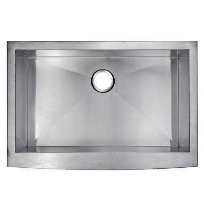 Farmhouse Apron Front Stainless Steel 33 in. Single Bowl Kitchen Sink in Satin