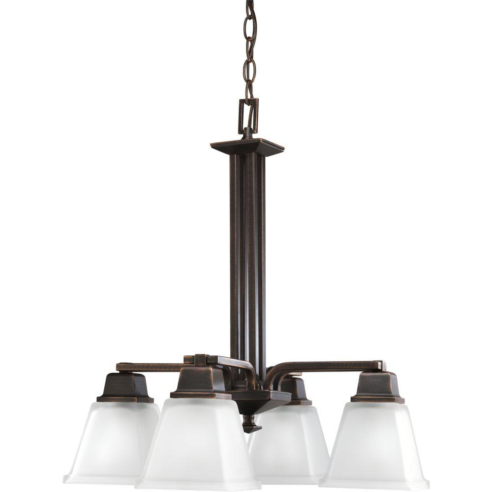 North Park Collection 4-Light Venetian Bronze Chandelier with Shade with Etched