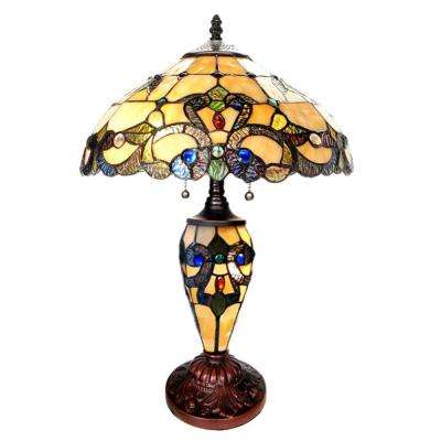 20 in. Multi-Colored Table Lamp with Stained Glass Magna Carta Shade and Lit Base