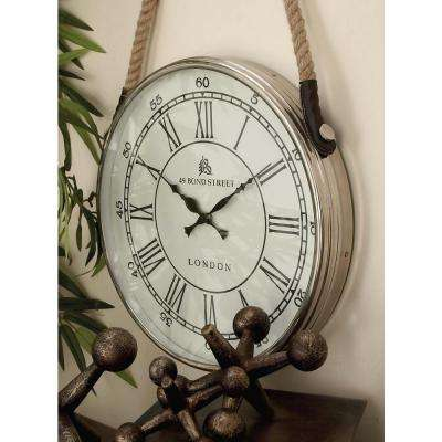 24 in. x 14 in. Traditional Aluminium and Stainless Steel Round Wall Clock