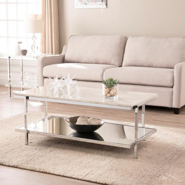 Southern Enterprises Amber Chrome with White Faux Marble Cocktail Table HD698434