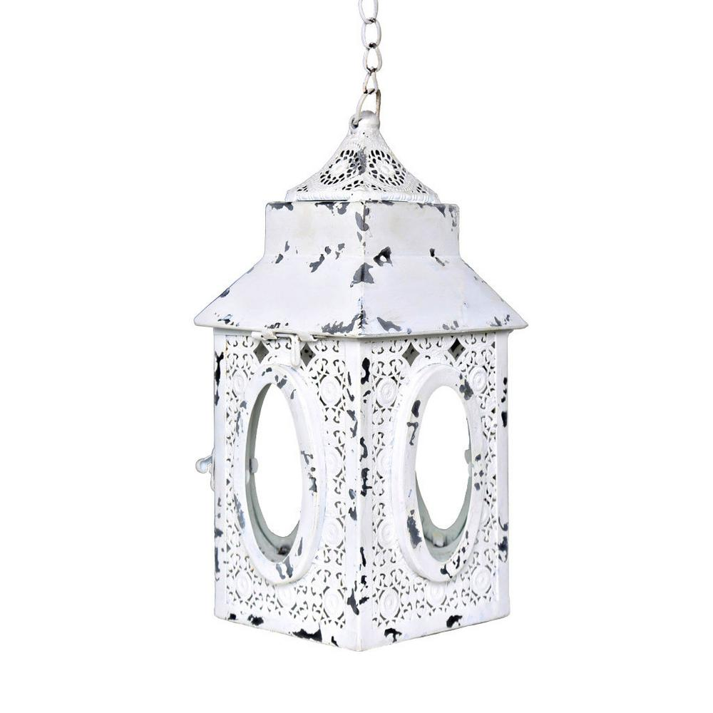 Outdoor 0.5-Watt White Integrated LED Hanging Pendant with Punched Metal Lace