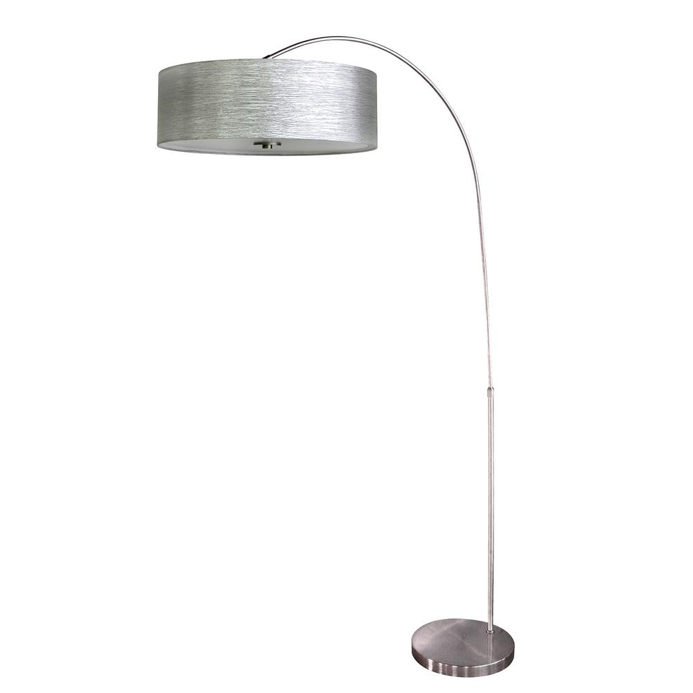 65 in. Chrome Floor Lamp with Starlight Weave Fabric Shade