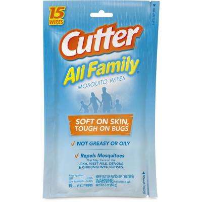 All Family 15 ct Mosquito Wipes Insect Repellent With 7.15% DEET
