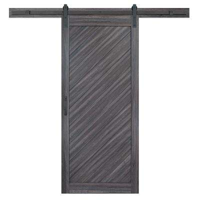 36 in. x 84 in. Diagonal Stormy Gray Interior Sliding Barn Door Slab with Hardware Kit