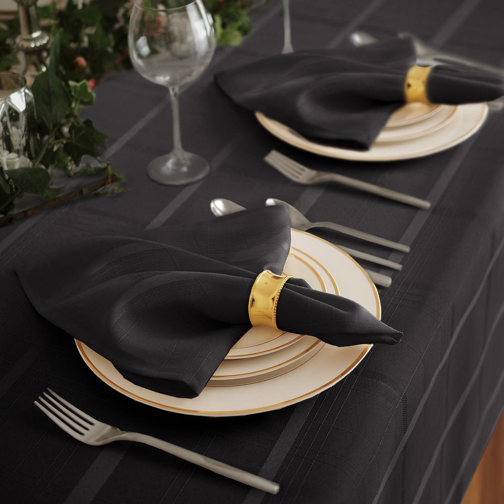 17 in. W x 17 in. L Elrene Elegance Plaid Damask Black Fabric Napkins (Set of 4)