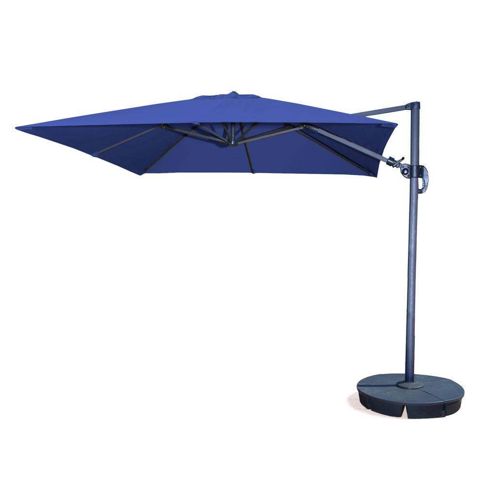 Island Umbrella Santorini II 10 Ft. Square Cantilever Patio Umbrella In  Blue Sunbrella Acrylic