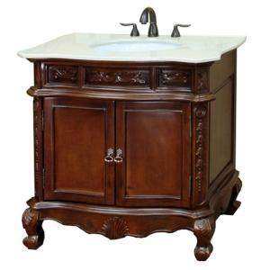 Click here to buy Bellaterra Home Ashby 34-6/10 inch W x 36 inch H Single Vanity in Walnut with Marble... by Bellaterra Home.